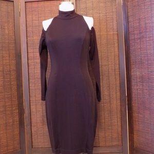 Tadashi Black Long Sleeve Cold Shoulder Dress L